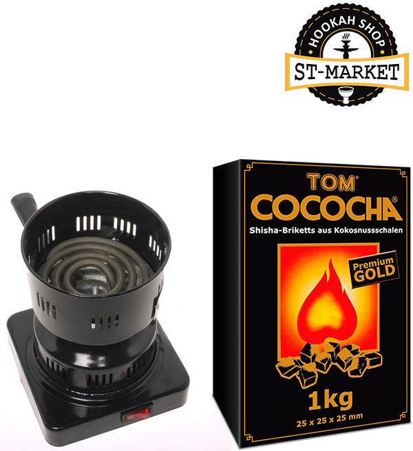 набор для кальяна плита amy и уголь кокосовый tom cococha
